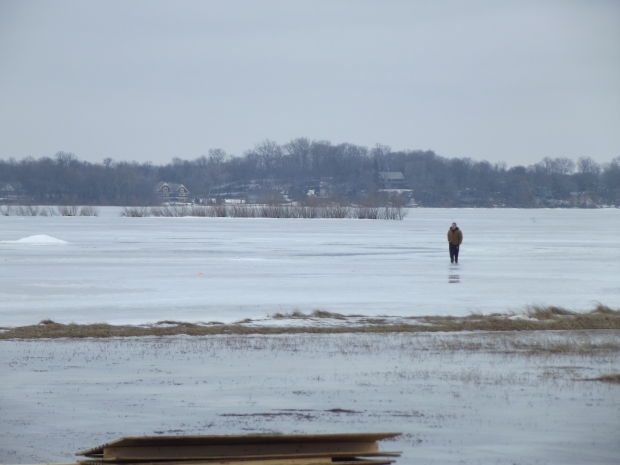 The guy took a stroll across the lake.
